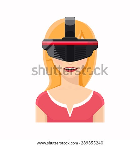 Woman avatar in virtual reality glasses. Technology and equipment, video gaming, cyber innovation - stock photo