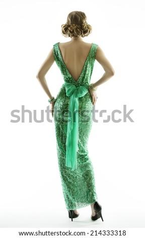 Woman back in retro fashion sequin dress, elegant vintage style girl, isolated on white background  - stock photo