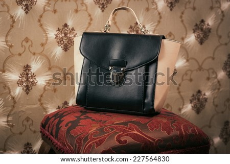 woman bag on elegant background - stock photo