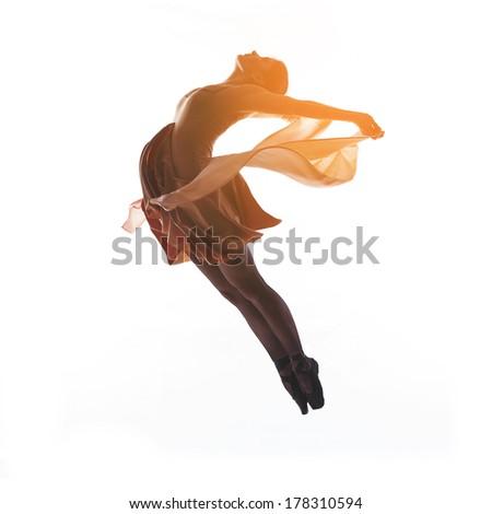 woman ballerina ballet dancer dancing in silhouette on white background - stock photo
