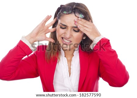 woman beautiful expression of pain and discomfort at work - stock photo