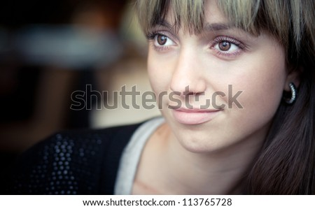 Woman - Beautiful Girl face. The perfect clear skin - stock photo