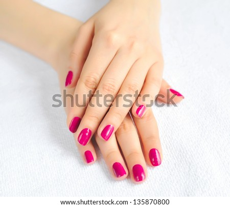 Woman beautiful hands with manicure - stock photo