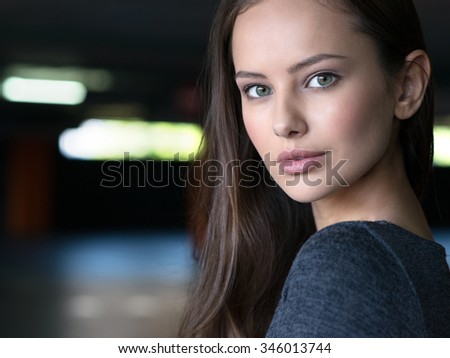 Woman Beautiful Portrait City Urban Face Young. Attractive caucasian girl posing outdoor - stock photo