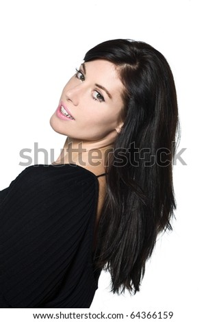 woman beautiful portrait on studio isolated white background smiling green eyes brown hair - stock photo
