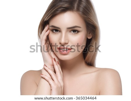 Woman Beauty face beautiful close-up portrait isolated on white