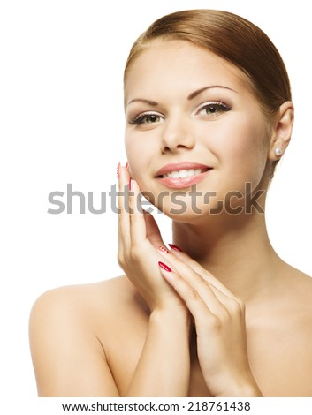 Woman Beauty Face, Clean Fresh Skin Care, Beautiful Young Girl Makeup Portrait, Skincare Over Isolated White Background - stock photo