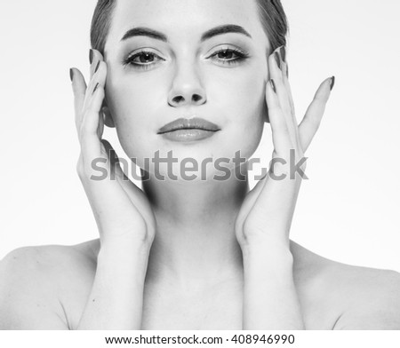 Woman beauty face portrait isolated on white with healthy skin black and white  - stock photo