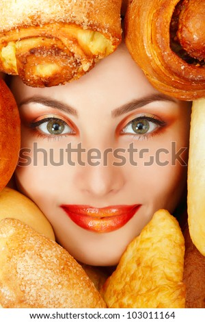 woman beauty face with bread bun patty baking food frame - stock photo