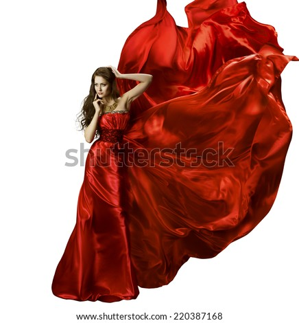 Woman Beauty Fashion Dress, Girl In Red Elegant Silk Gown Waving Fabric, Model In Long Fluttering Cloth On Wind, Isolated Over White Background - stock photo