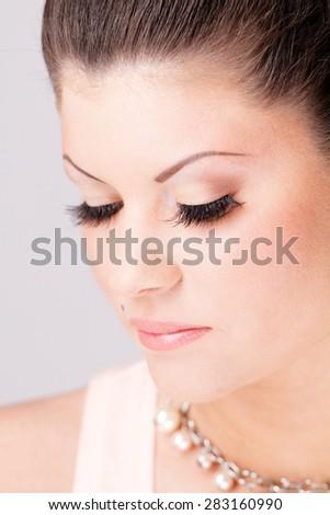Woman beauty portrait. Close up female face. - stock photo
