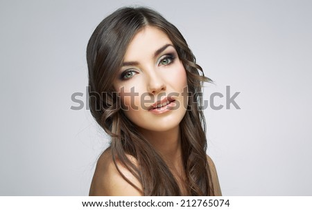 Woman beauty portrait, sensual open lips. Long hair style. Female model studio posing.