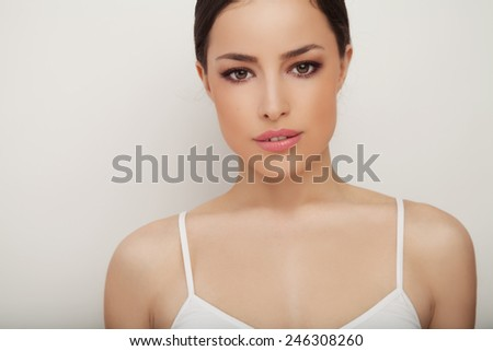 woman beauty portrait, studio white