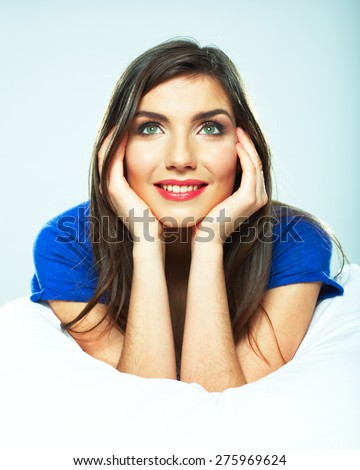 Woman bed relaxed. Beauty female model. - stock photo