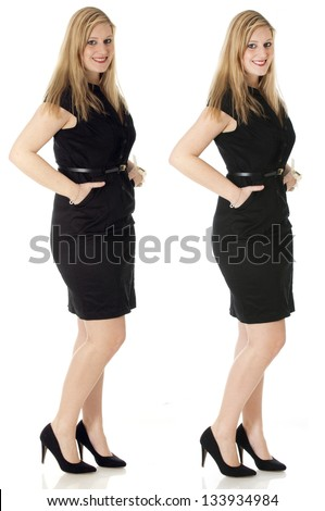 Woman - Before and after - stock photo