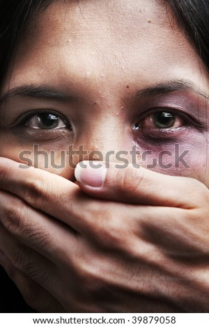 Woman being kidnapped and abused, a concept for domestic violence