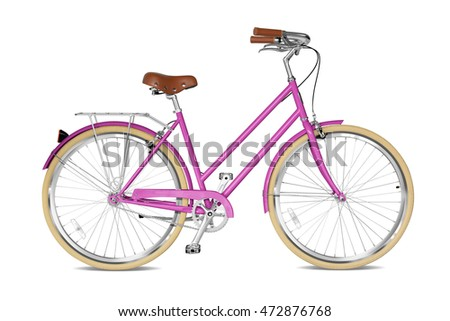 Woman bicycle with a pink frame. Clipping path included.