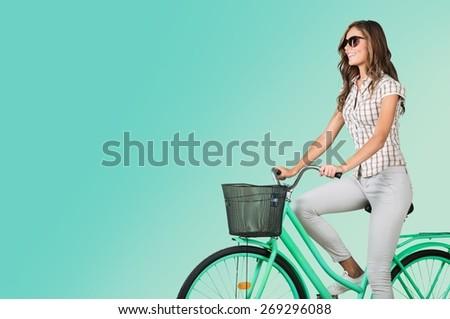 Woman, bike, urban. - stock photo