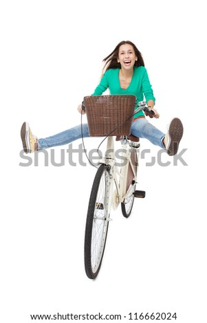 Woman biking - stock photo