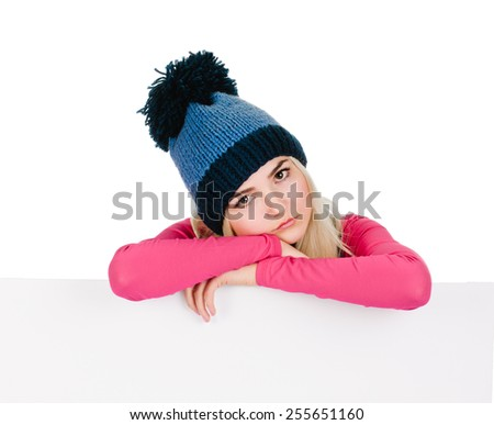 woman billboard. Young beautiful woman showing blank white placard. - stock photo