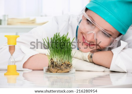 woman biologist  - stock photo