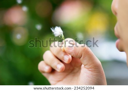 Woman blowing on a dandelion. - stock photo