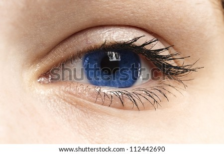 Woman blue eye with long eyelashes
