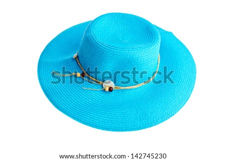 woman blue summer hat isolated - stock photo