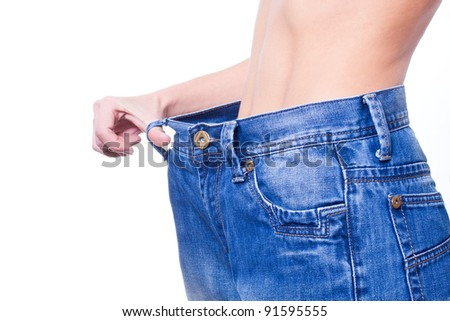 woman body after losing weight - isolated