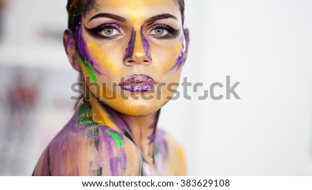 Woman body art on a white background - stock photo