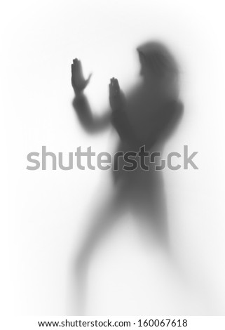Woman body, silhouette, shows fight, karate self defense