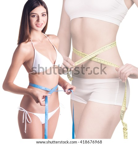 Woman body with measuring tape - stock photo