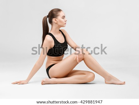 Woman body woman sitting floor full length