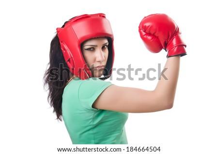Woman boxer on white background - stock photo