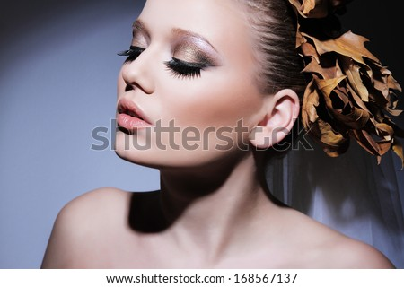Woman, bride portrait. Professional make-up.