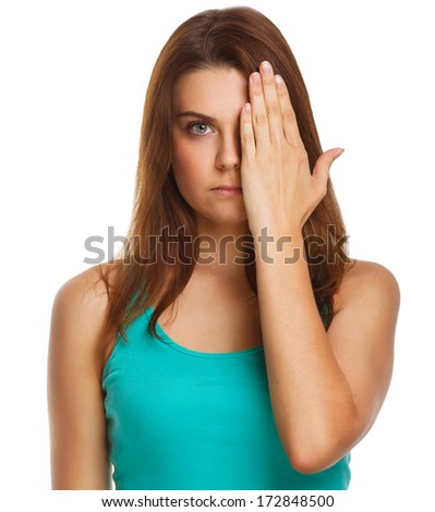 woman brunette girl covered her face half a hand isolated on white background large