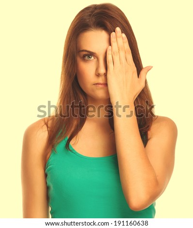 woman brunette girl covered her face half a hand isolated on white background large cross processing retro