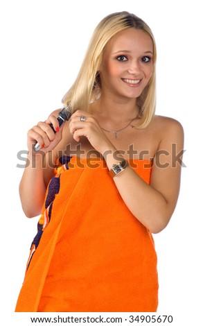 woman brush her hair - stock photo