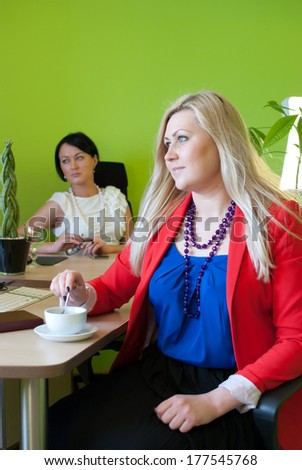Woman business office drink coffee break