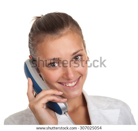 Woman businessman holding a phone