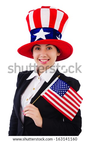Woman businessman with american symbols