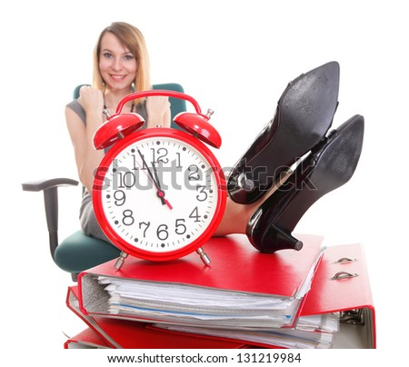 woman businesswoman holding plenty of documents isolated white red folder clock time Young relaxing legs up - stock photo