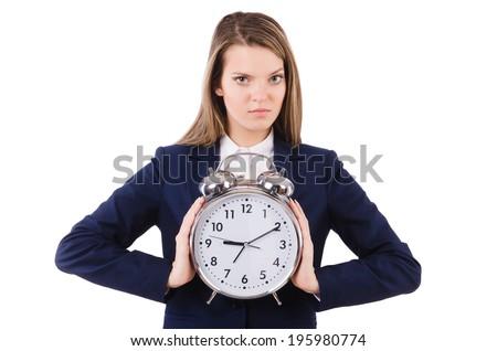 Woman businesswoman isolated on white - stock photo