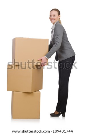 Woman businesswoman with boxes on white - stock photo