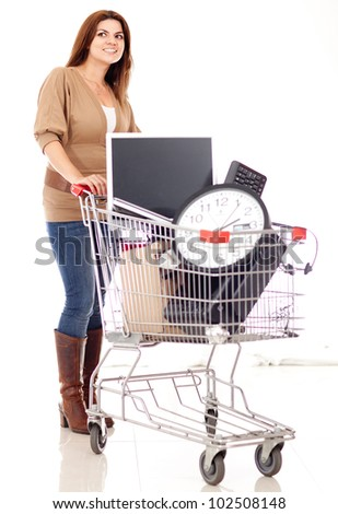 Woman buying office supplies - isolated over a white background - stock photo