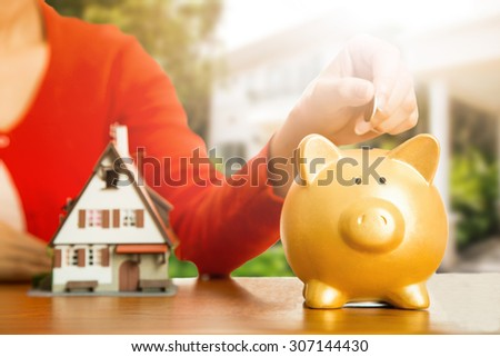 Woman calculate and plan for your good property with real agency property. - stock photo
