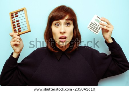 woman calculating - stock photo