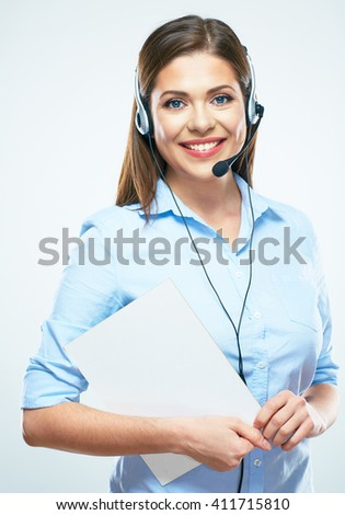 Woman call center operator hold blank sign board. White background isolated. - stock photo