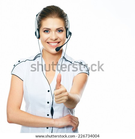 Woman call center operator thumb show. White background isolated. - stock photo