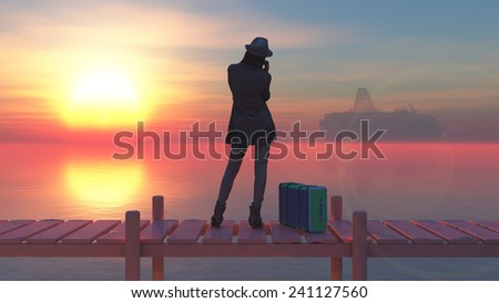 woman calling by phone on a wooden pier - stock photo